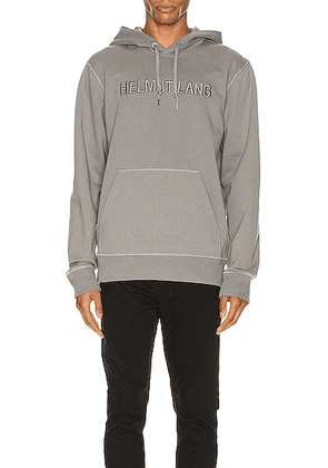 Helmut Lang Raised Embroidery Standard Hoodie in Pebble - Gray. Size L (also in M,S,XL).