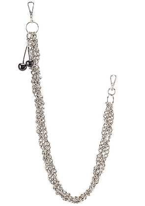 Raf Simons Black Cherries Twisted Wallet Chain in Silver - Metallic. Size all.
