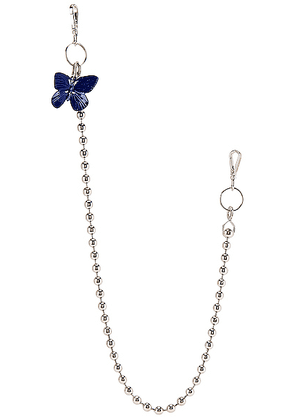 Raf Simons Blue Butterfly Ball Wallet Chain in Silver - Metallic. Size all.