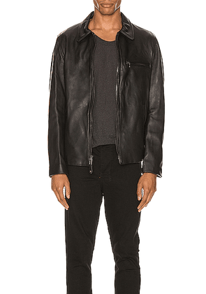 Schott Collar Lamb Leather Jacket in Black - Black. Size L (also in S,XL).