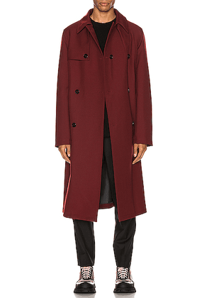 Jil Sander Trafford Trench Coat in Pomegranade - Red. Size 50 (also in 48).