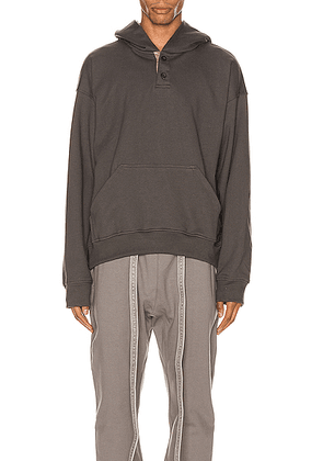 Fear of God Everyday Henley Hoodie in Seaweed - Gray. Size L (also in M,S,XL).