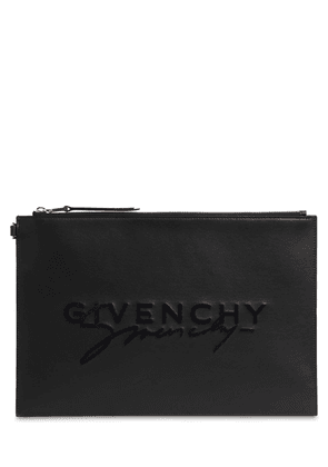 Large Flocked Logo Leather Pouch
