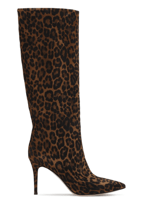 85mm Leopard Print Suede Tall Boots