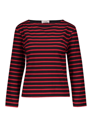 Long-sleeved striped jersey top