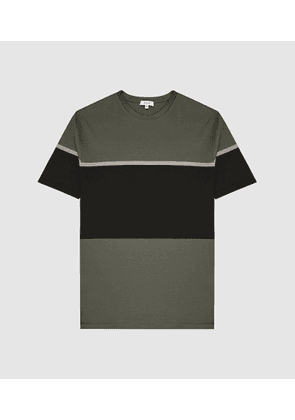 Reiss Block - Colour Block T-shirt in Sage, Mens, Size XS