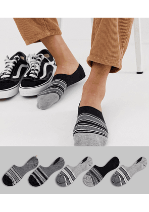ASOS DESIGN invisible liners socks with monochrome stripe design 5 pack multipack saving