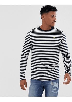 ASOS DESIGN long sleeve t-shirt in stripe with triangle chest print