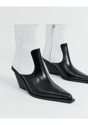ASOS DESIGN Rory premium leather western boots in mono