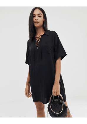 ASOS DESIGN chuck on mini shirt dress with lace up