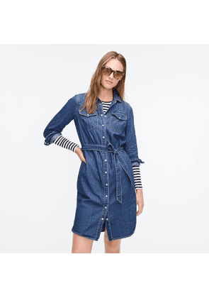 Denim shirtdress with tie belt