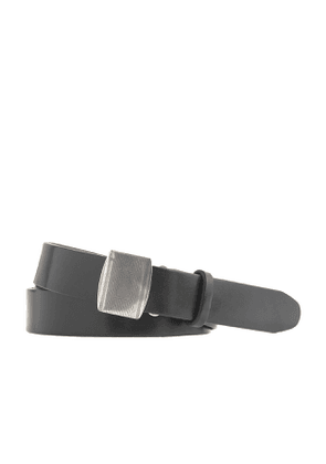 Classic leather belt with removable vertical buckle
