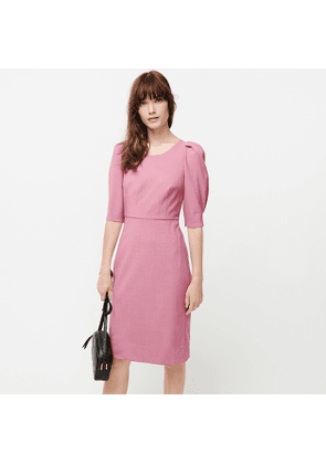 Petite puff-sleeve wool sheath dress