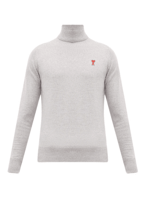 Ami - Logo Embroidered Roll Neck Wool Sweater - Mens - Grey