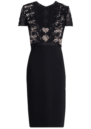 Catherine Deane Crochet-paneled Tulle And Stretch-jersey Dress Woman Black Size 12