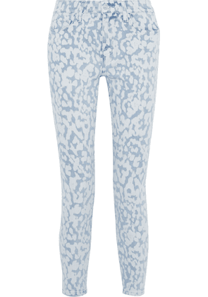 Current/elliott The High Waist Stiletto Cropped Printed High-rise Skinny Jeans Woman Light denim Size 24