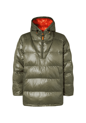 Aspesi - Quilted Ripstop-shell Hooded Half-zip Down Jacket - Green