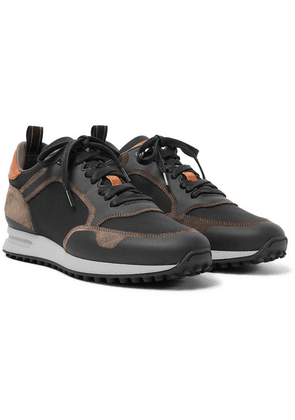 Dunhill - Radial Runner Leather And Suede-trimmed Mesh Sneakers - Black