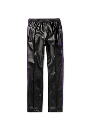 Needles - Logo-embroidered Webbing-trimmed Faux Leather Track Pants - Black