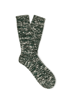 Anonymous Ism - Mélange Cotton-blend Socks - Green