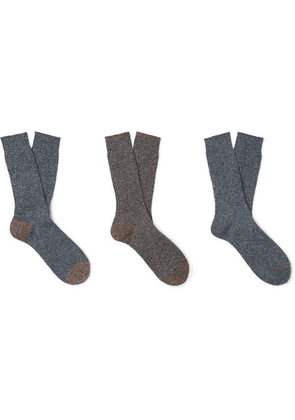 Anonymous Ism - Three-pack Mélange Knitted Socks - Navy