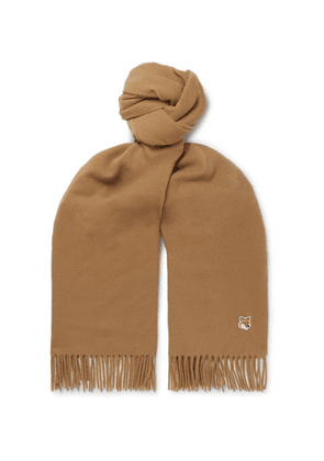 Maison Kitsuné - Logo-appliquéd Fringed Virgin Wool Scarf - Neutral