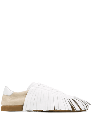 Lanvin fringed lace-up sneakers - White
