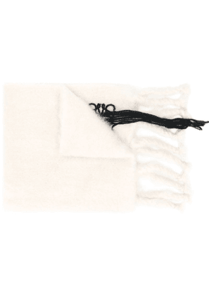 Loewe embroidered logo scarf - White