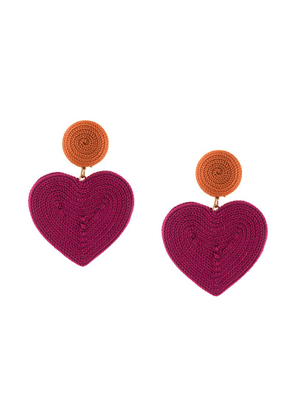 Rebecca De Ravenel heart drop earrings - Pink