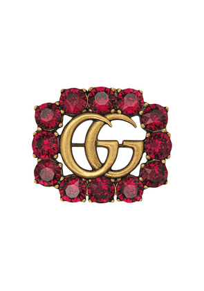 Gucci Metal Double G brooch with crystals - Red