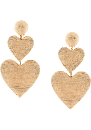 Rebecca De Ravenel heart pendant earrings - Gold