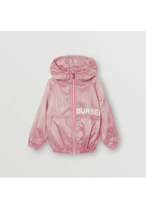 Burberry Childrens Logo Print Perforated Hooded Jacket, Size: 12Y, Pink