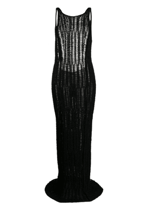 Eckhaus Latta loose-knit long dress - Black