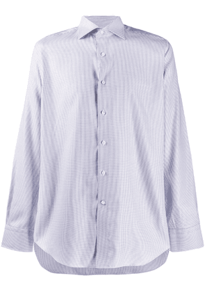 Canali houndstooth embroidered shirt - White