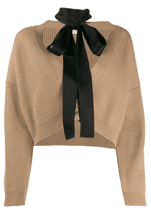 Red Valentino cropped cardigan with tie neck - Neutrals