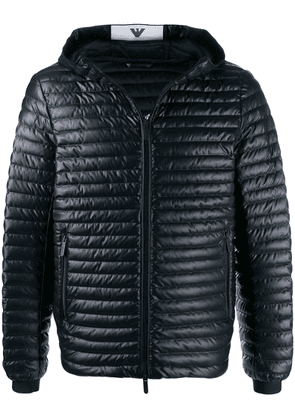 Emporio Armani ribbed hooded jacket - Blue