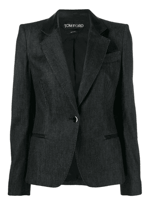 Tom Ford leather lapel jacket - Black