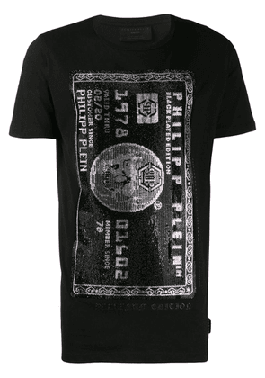 Philipp Plein embellished credic card T-shirt - Black