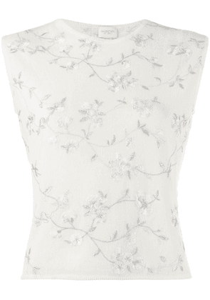 Giambattista Valli floral embroidered knitted top - White