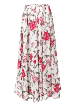 Rochas floral embroidered flared skirt - White