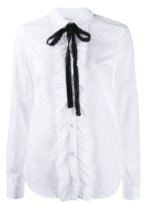 Red Valentino contrast bow ruffled shirt - White