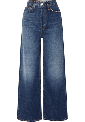 RE/DONE - 60s Extreme Cropped Distressed High-rise Wide-leg Jeans - Mid denim