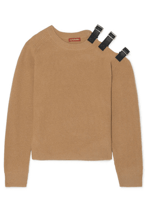 Altuzarra - Cutout Leather-trimmed Wool And Cashmere-blend Sweater - Camel