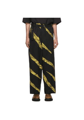 Issey Miyake Men Black and Yellow Wind Print Belted Trousers