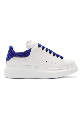 Alexander McQueen White and Blue Crystal Glitter Oversized Sneakers