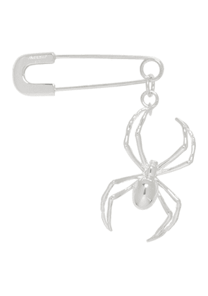 Ambush Silver Spider Safety Pin Single Earring
