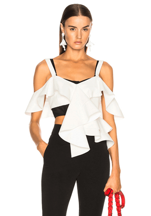 Proenza Schouler Off Shoulder Ruffle Top in Off White - White. Size 2 (also in ).
