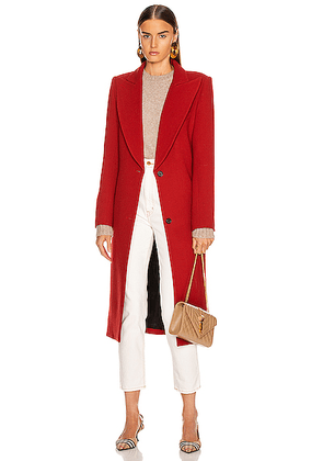 Smythe Peaked Lapel Coat in Brick - Red. Size 4 (also in 8).