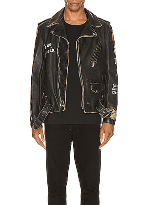Schott PER74 Hand Painted Vintage Perfecto Jacket in Black - Black. Size S (also in M).