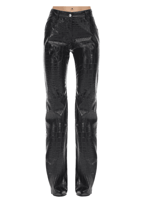 Croc Embossed Faux Leather Pants